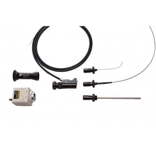 Multiscope borescope with selection of rigid, flexible and custom shaped interchangeable probes
