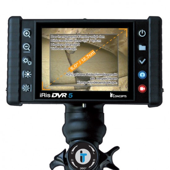 iris DVR 5 Videoscope Industrial Video Borescope with large 5 inch LCD screen